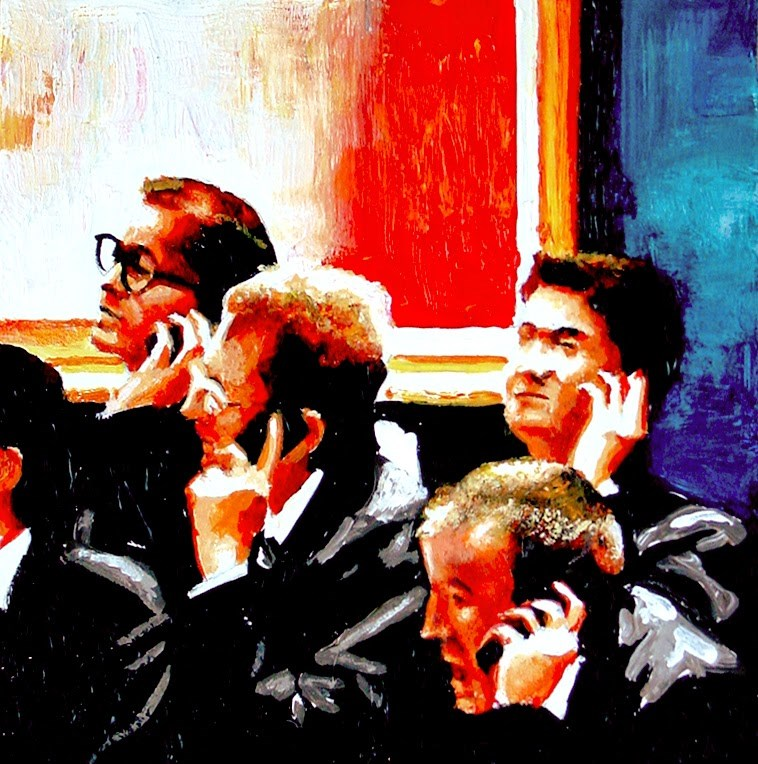 """""""Telephone Bids 4- Workers Taking Telephone Bids During Evening Auction At Christie's"""" original fine art by Gerard Boersma"""