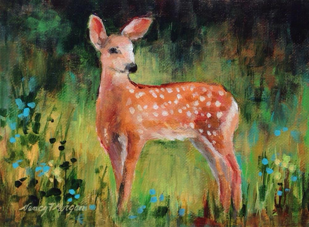 """""""Afternoon of the Fawn"""" original fine art by Nancy F. Morgan"""