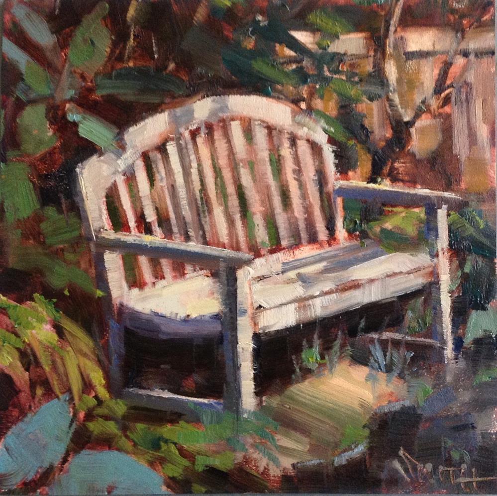"""""""Garden  Bench"""" original fine art by Barbie Smith"""