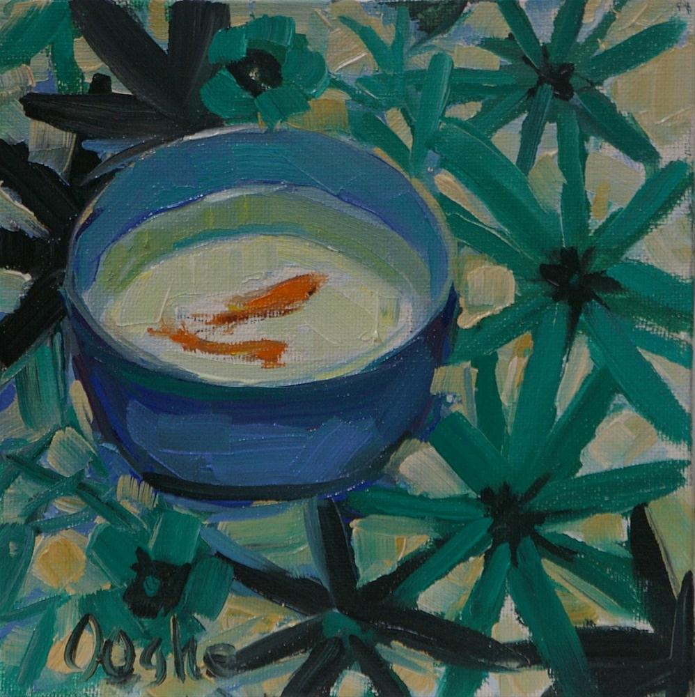 """""""Goldfish in Blue and White Bowl"""" original fine art by Angela Ooghe"""