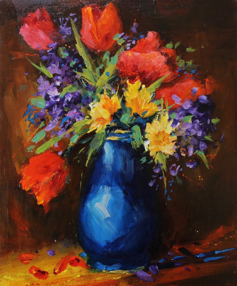 """Original Poppy Floral Flower Still Life Bouquet Painting"" original fine art by Alice Harpel"