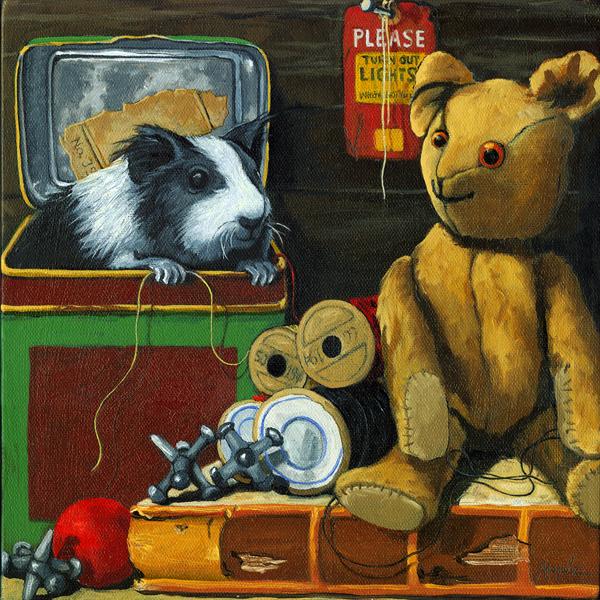 """""""Herman Finds a Friend"""" original fine art by Linda Apple"""