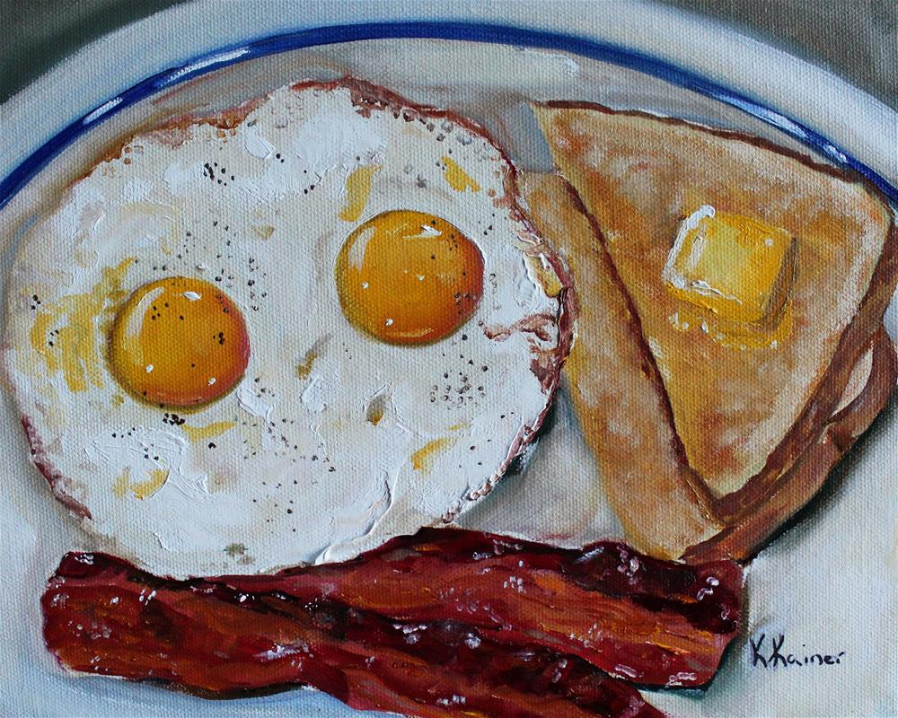 """Bacon and Eggs"" original fine art by Kristine Kainer"