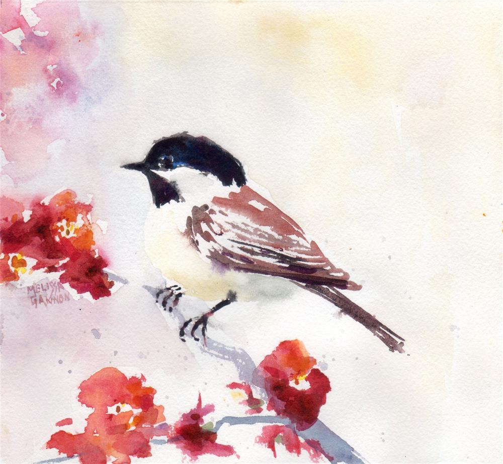 """Springtime Chickadee"" original fine art by Melissa Gannon"