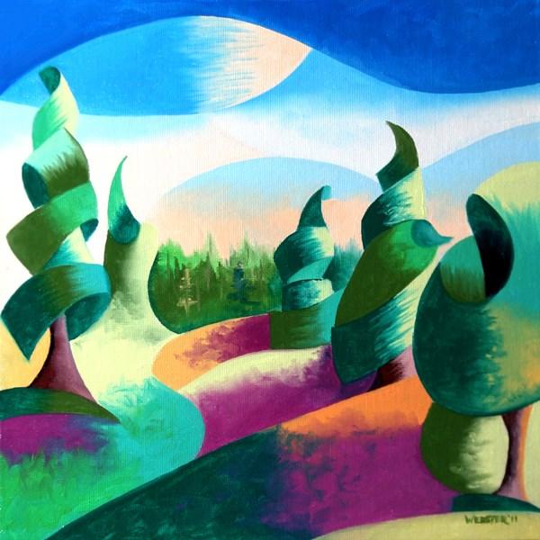 """Mark Webster - Abstract Geometric Alaska Landscape Painting"" original fine art by Mark Webster"