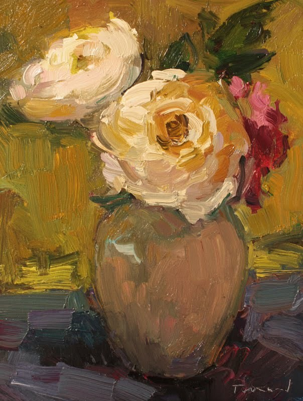 """""""White Roses"""" original fine art by Kathryn Townsend"""