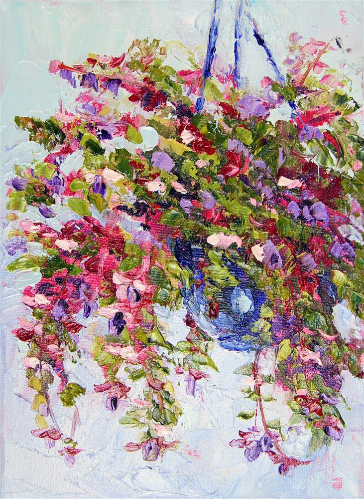 """Fuchsia Basket Oil Painting"" original fine art by Marion Hedger"