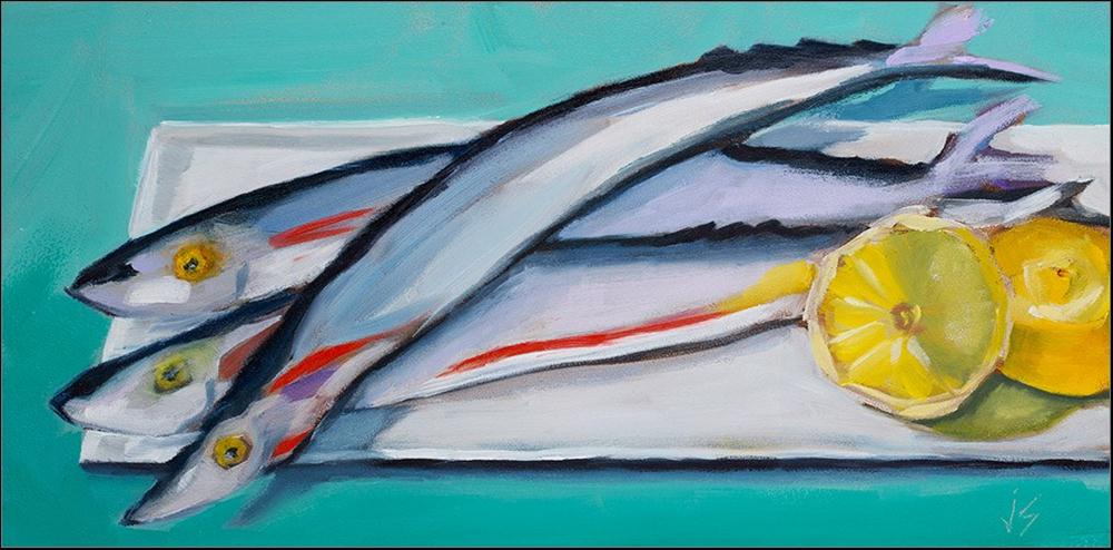 """""""Mackerel Trio"""" original fine art by Johnna Schelling"""