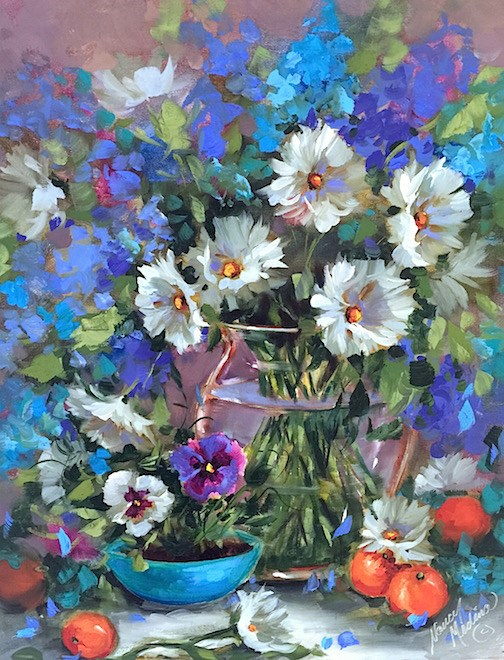 """""""Eight Days Until Painting Brilliant Colors and Don't Be Blue Daisies"""" original fine art by Nancy Medina"""