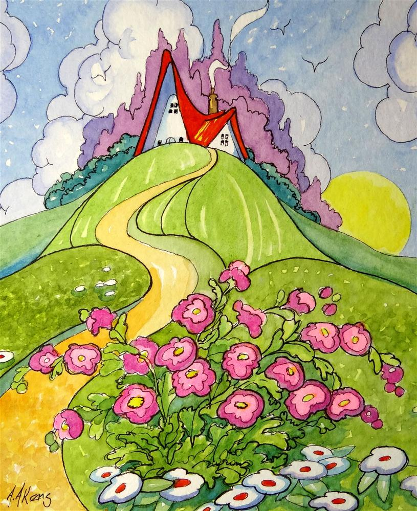 """""""Up the Hill to Paradise Storybook Cottage Series"""" original fine art by Alida Akers"""