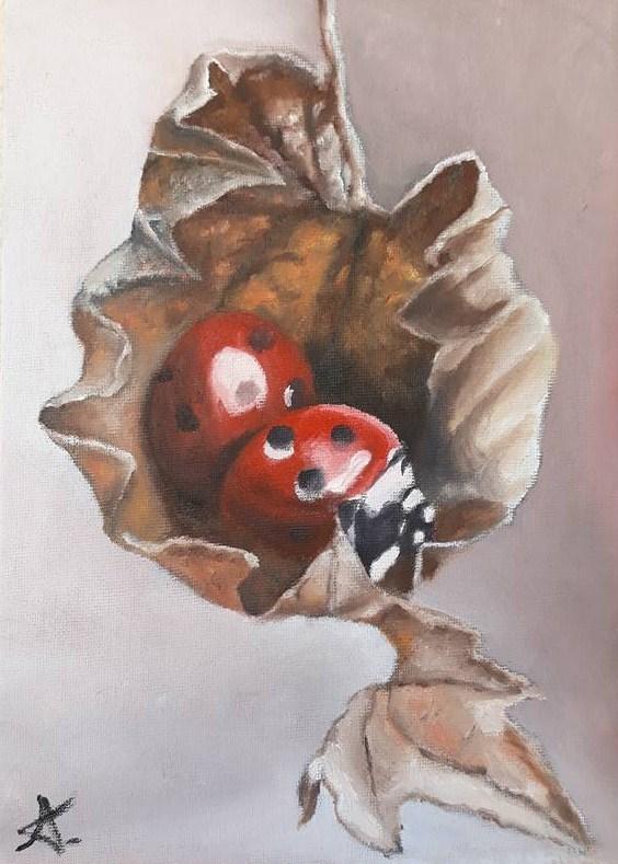 """Ladybug cocooning 89"" original fine art by Konstantia Karletsa"