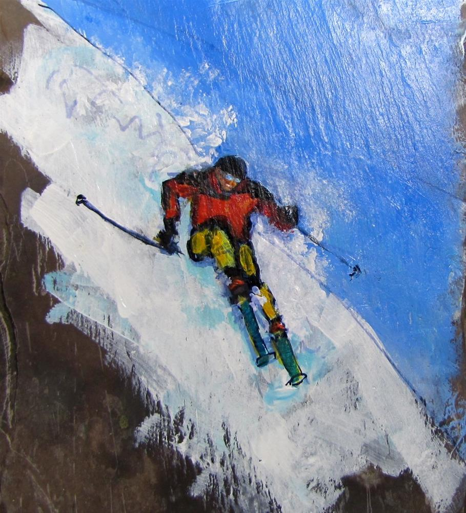 """Day 25 slate - Skier III"" original fine art by Christine Holzschuh"