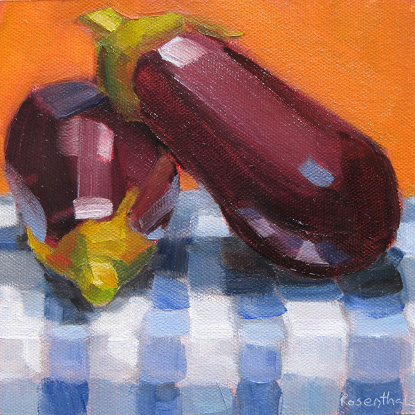 """Eggplant on Checkered Cloth"" original fine art by Robin Rosenthal"