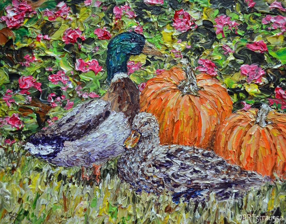 """Posing Mallards"" original fine art by Gloria Ester"