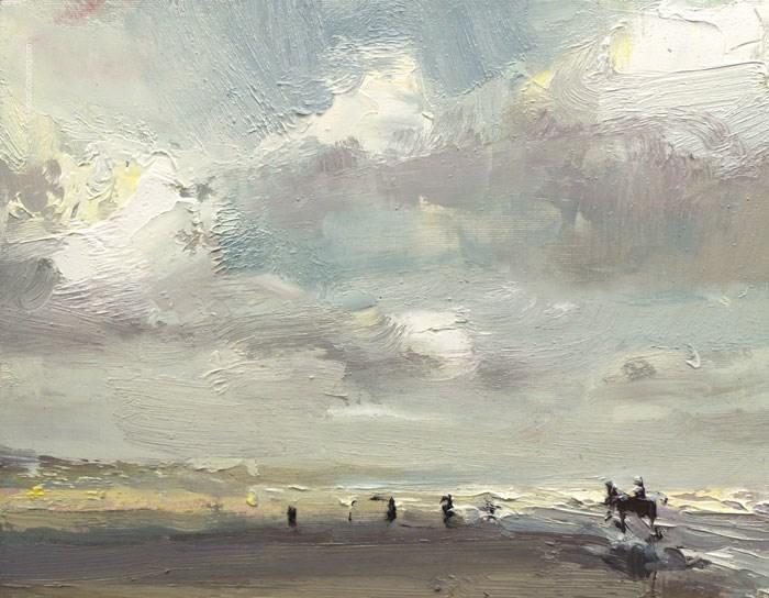 """Beach Painting December"" original fine art by Roos Schuring"