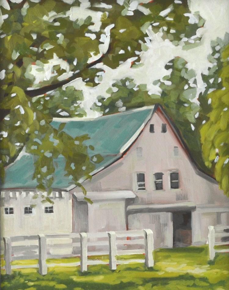 """White Barn"" original fine art by Jessica Green"