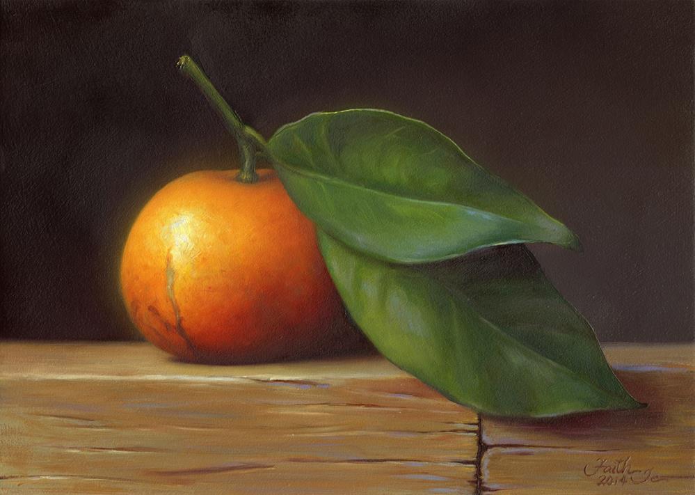 """""""Satsuma Orange with Leaves"""" original fine art by Faith Te"""