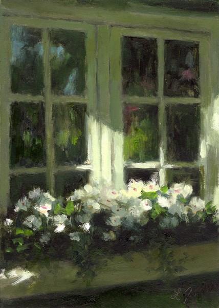 """Vinca Rosa"" original fine art by Linda Jacobus"