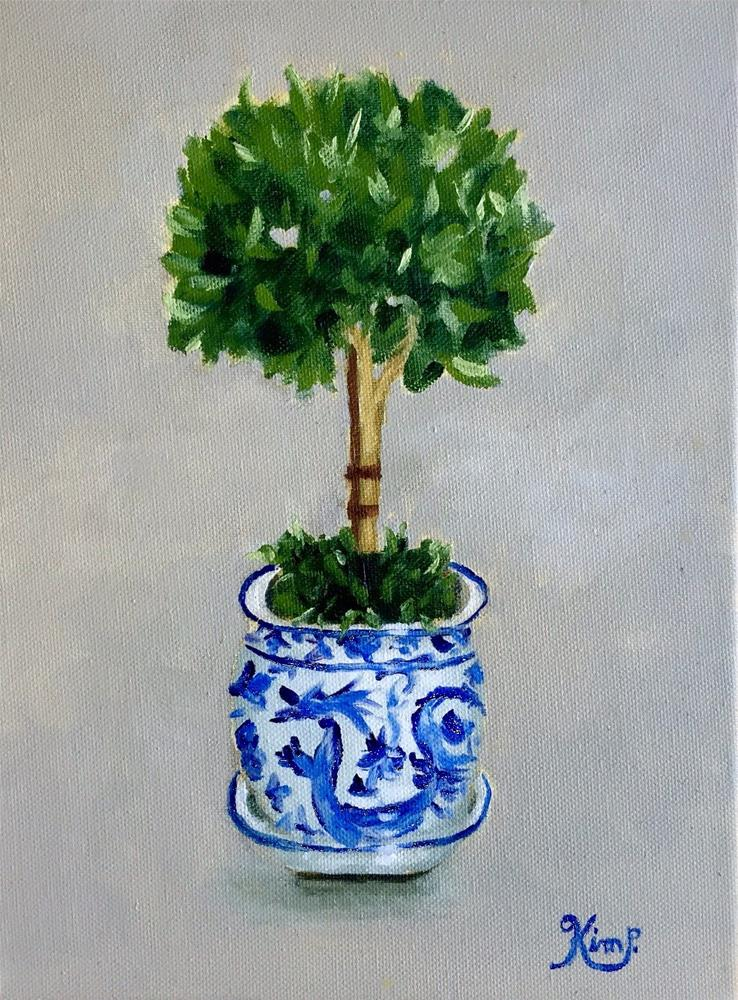 """""""Topiary in Blue and White Pot"""" original fine art by Kim Peterson"""