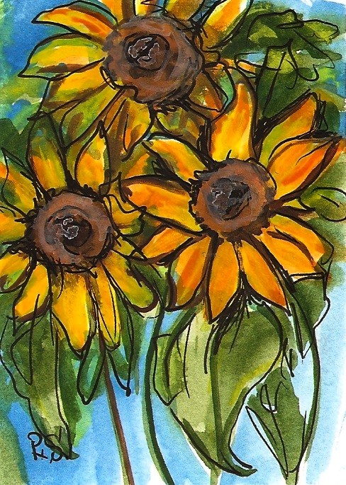 """""""ACEO Three Sunflowers Illustration Painting Stylized Watercolor Penny StewArt"""" original fine art by Penny Lee StewArt"""