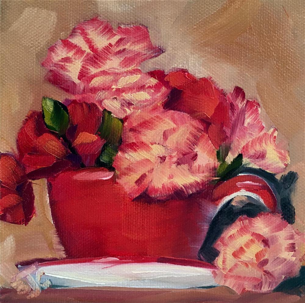 """A Cup of Flower"" original fine art by Bobbie Cook"