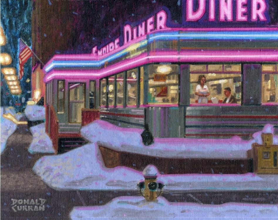 """Empire Diner"" original fine art by Donald Curran"