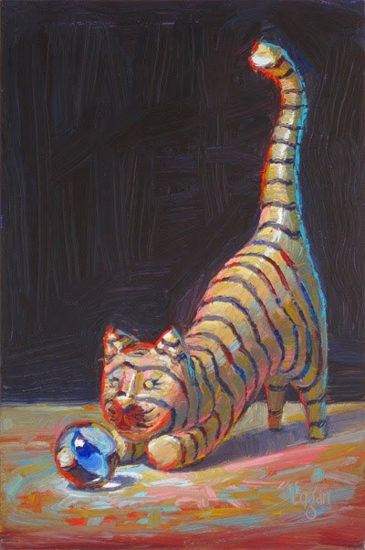 """Marble Taunts Cat"" original fine art by Raymond Logan"