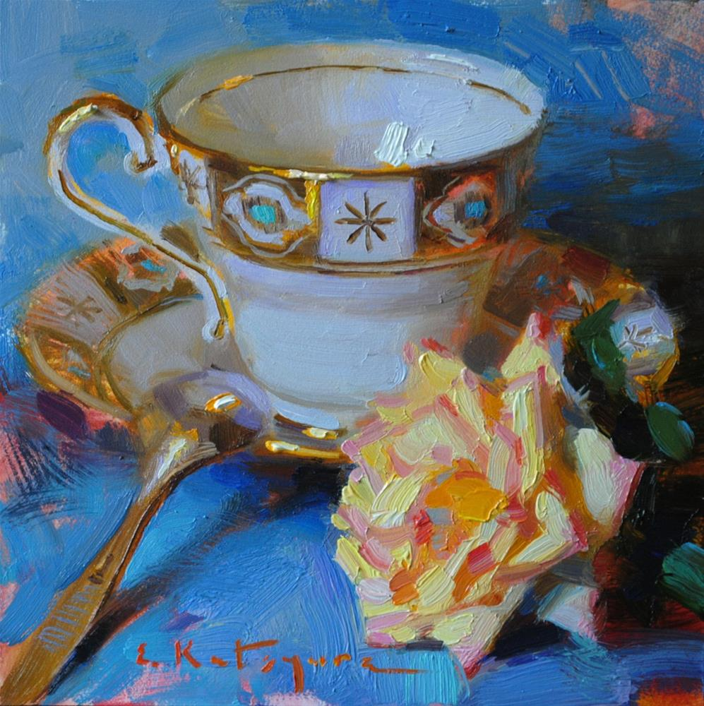 """White Cup and Yellow Rose - Sold"" original fine art by Elena Katsyura"