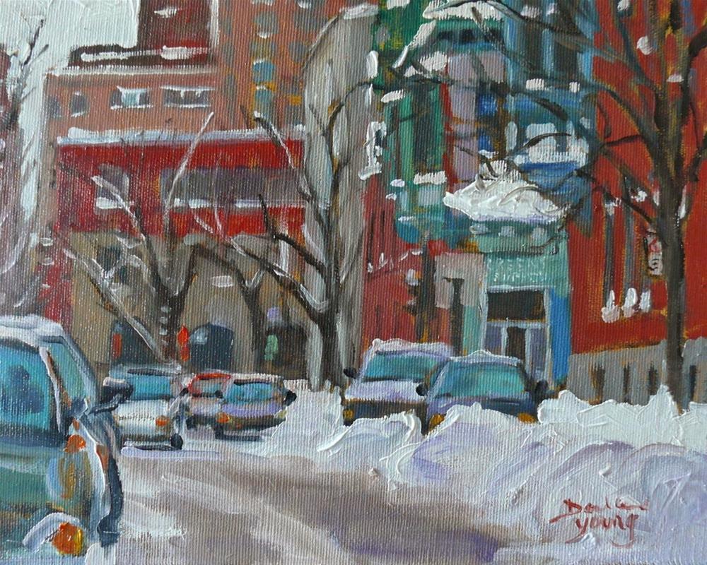 """""""826 Montreal Winter Scene, McGill Ghetto, Green's, 8x10, oil"""" original fine art by Darlene Young"""