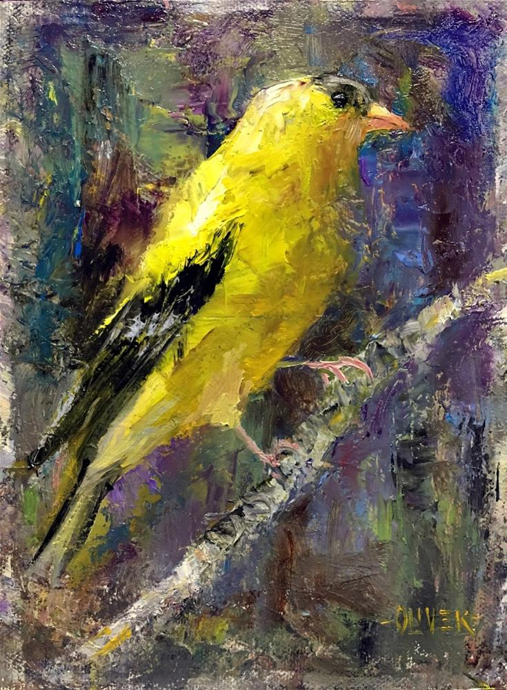 """American Goldfinch"" original fine art by Julie Ford Oliver"