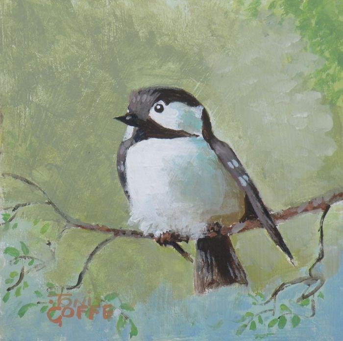 """Crested Tit"" original fine art by Toni Goffe"