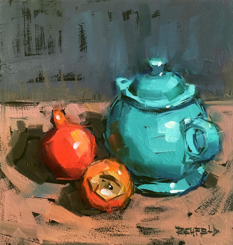 """The Turquoise Teapot and Pom"" original fine art by Cathleen Rehfeld"