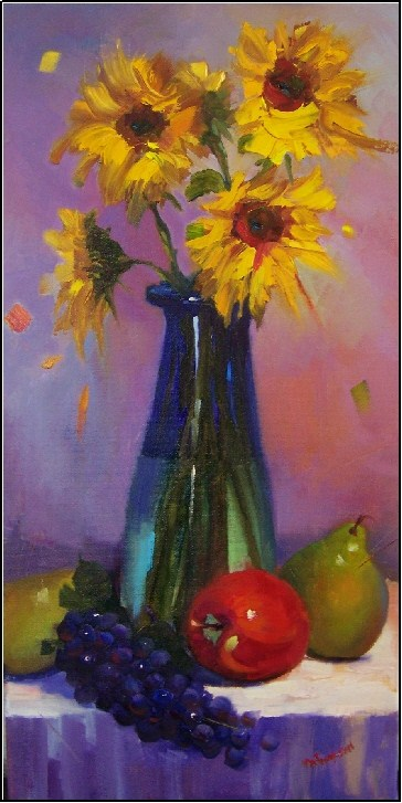 """Goldilocks and the Two Pears, 12x24, oil, sunflowers, pears, apple, purple grapes, still life"" original fine art by Maryanne Jacobsen"