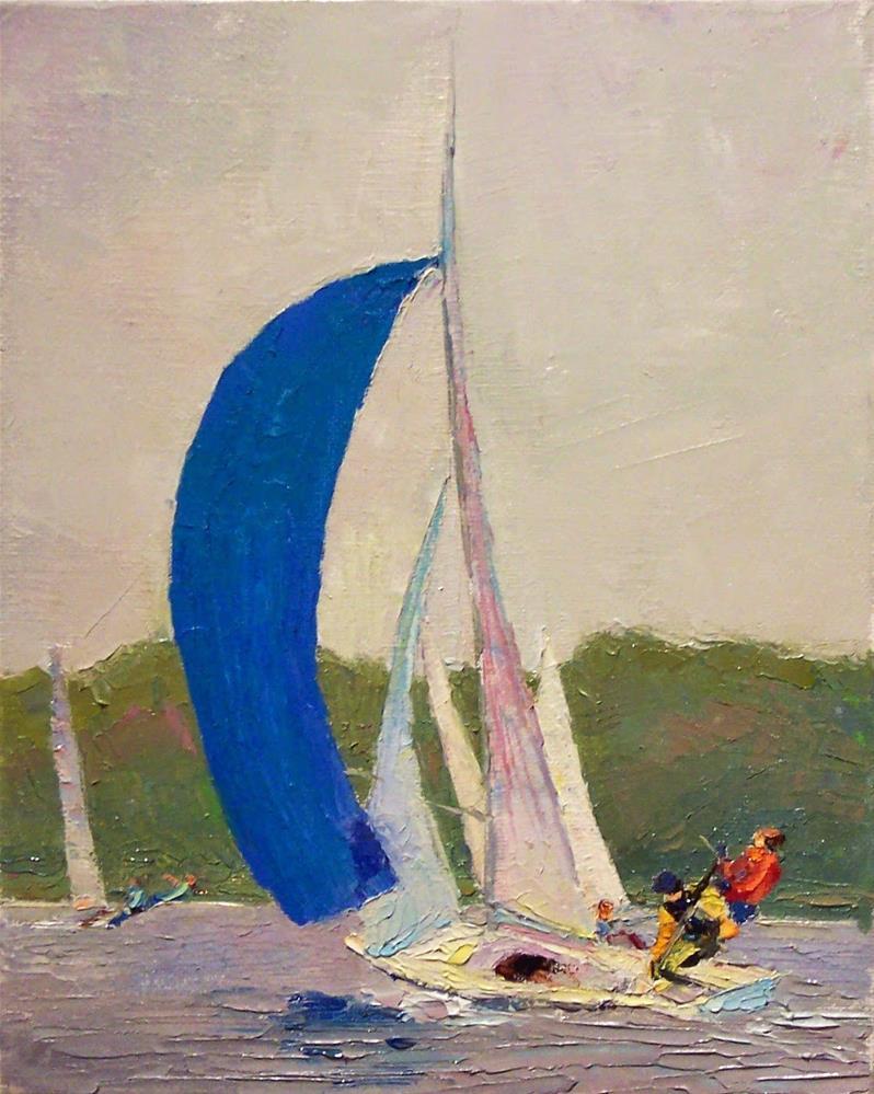 """The Race,seascape,oil on canvas,10x8,price$500"" original fine art by Joy Olney"