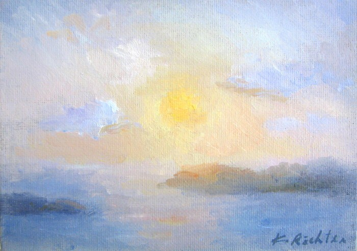 """Sunset, Santorini Island"" original fine art by Keiko Richter"