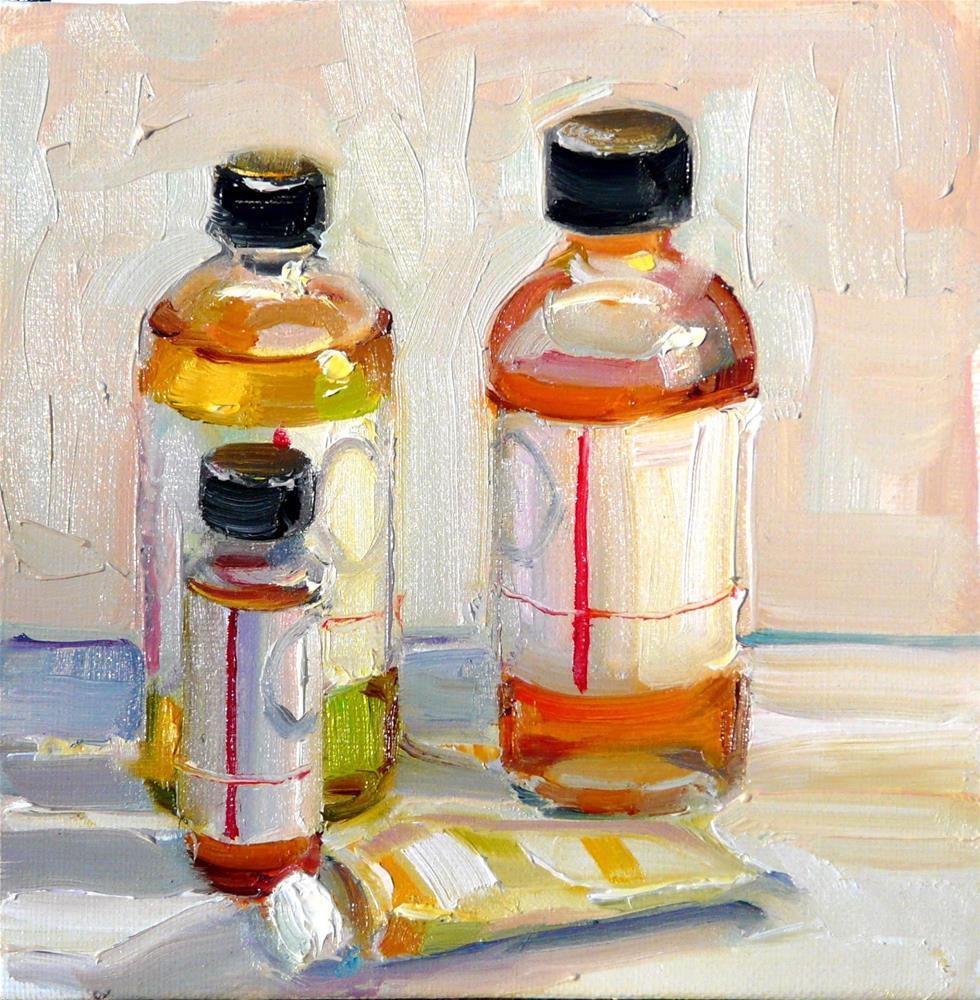 """Paint Tube and Medium,still life,oil on canvas,price$200"" original fine art by Joy Olney"