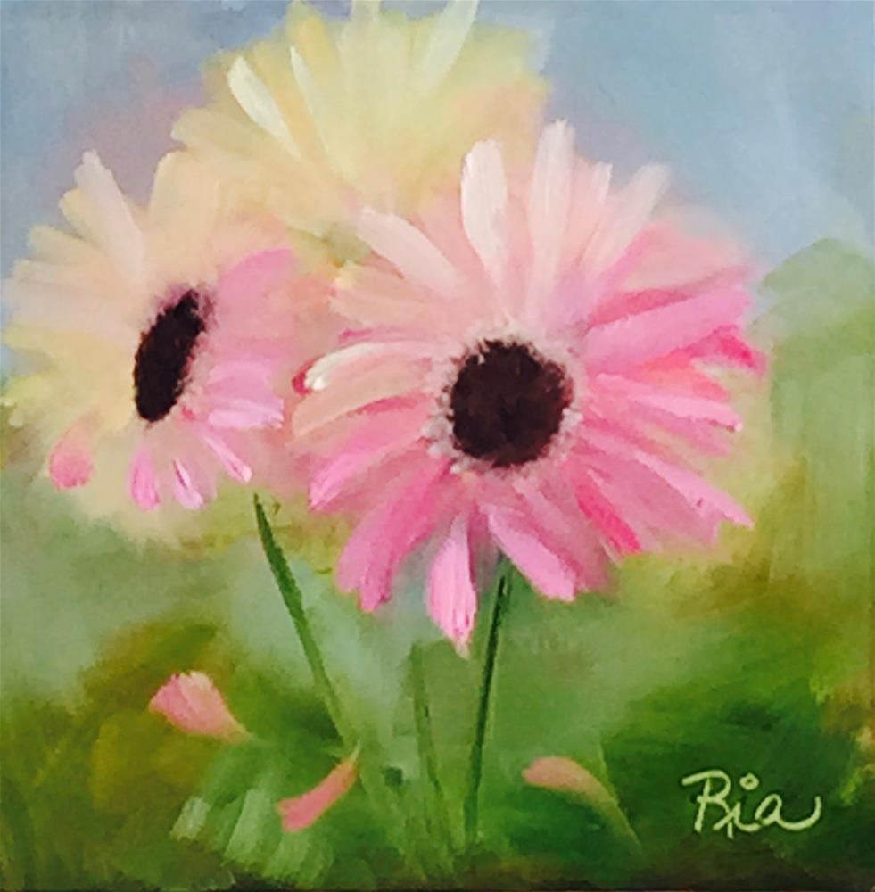 """""""Pink Daisies"""" original fine art by Maria Reed"""