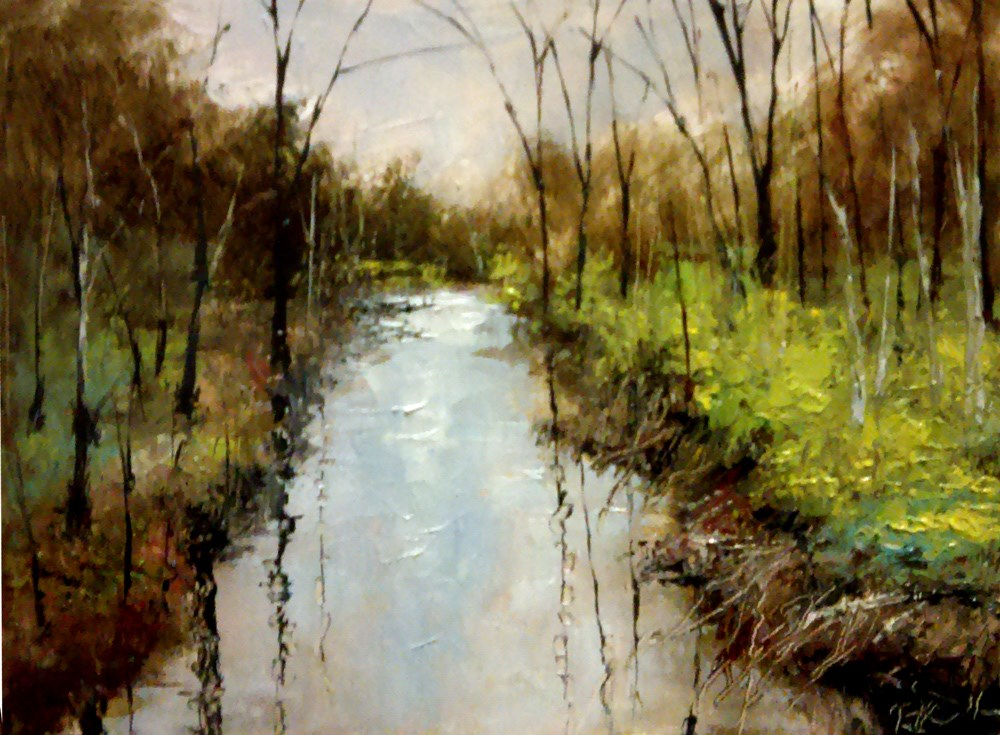 """River in the Woods"" original fine art by Bob Kimball"