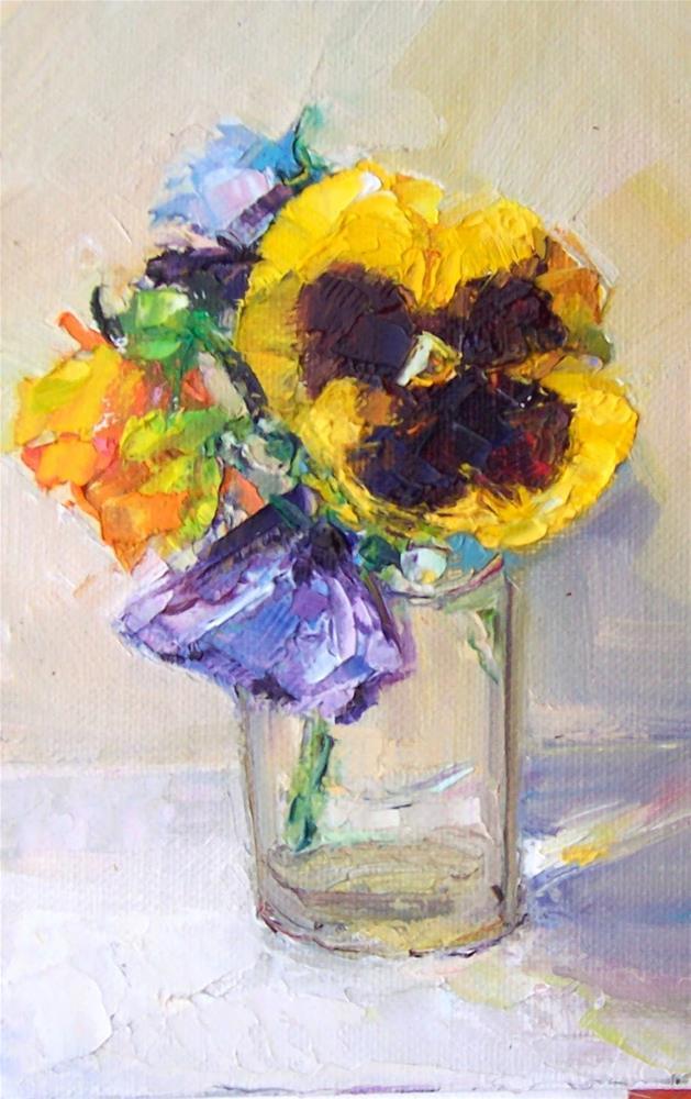 """Pansies in Glass,still life,oil on canvas,7x5,price$200"" original fine art by Joy Olney"