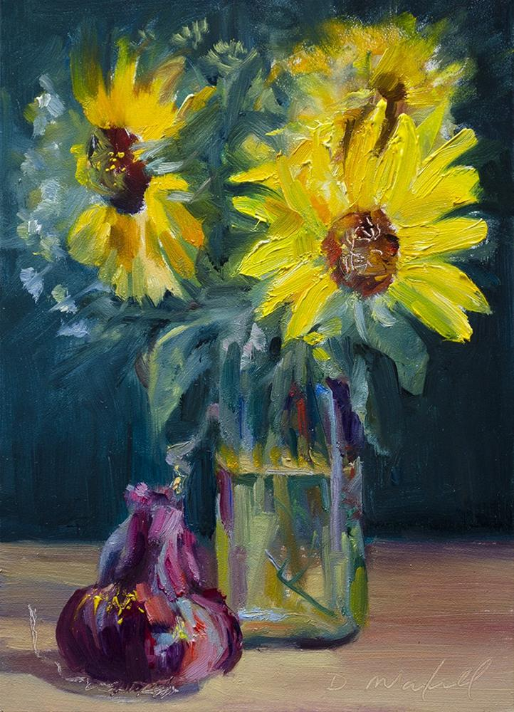 """""""Sunflowers,Milk Bottle and Red Onion"""" original fine art by Denise Maxwell"""