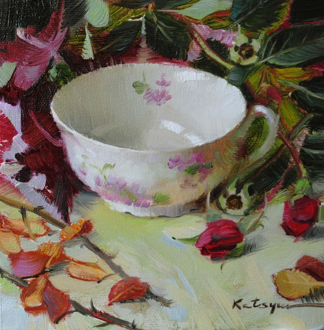 """Teacup & Rosebuds"" original fine art by Elena Katsyura"