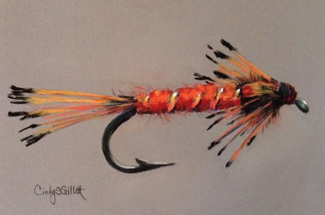 """""""Fly 31 - Orange Nymph"""" original fine art by Cindy Gillett"""