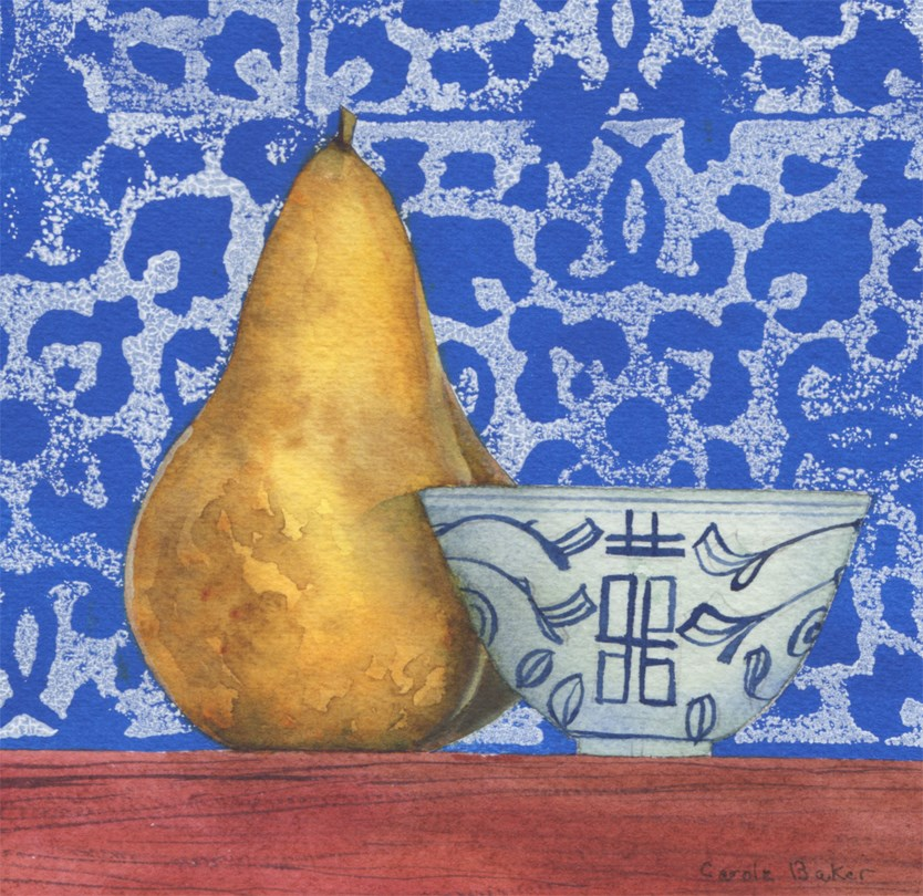 """""""Pear with Chinese cup"""" original fine art by Carole Baker"""
