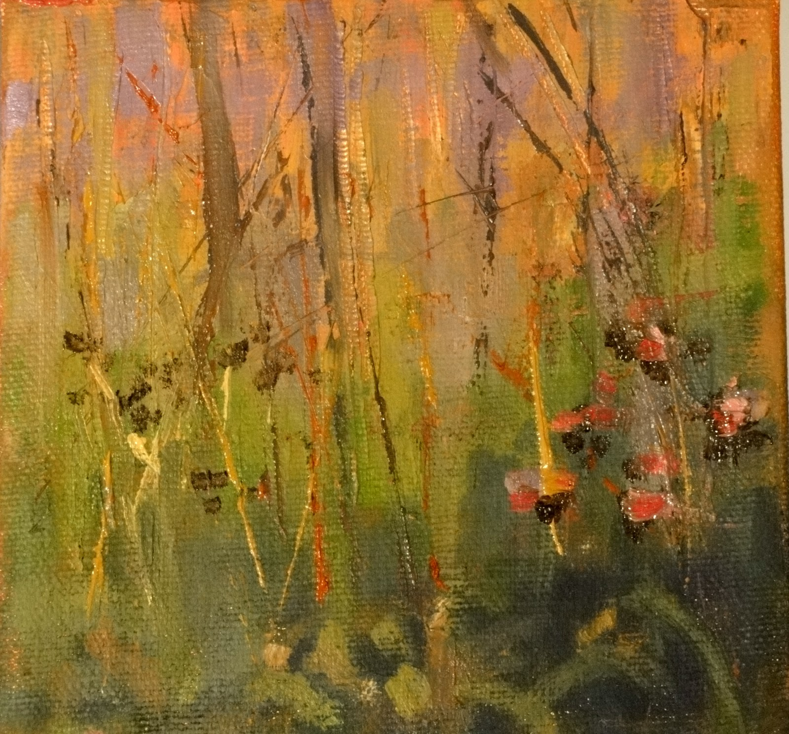 """Tall Grass Study, Crabtree Forest Preserve, 5x5 (Sold)"" original fine art by Ann Feldman"