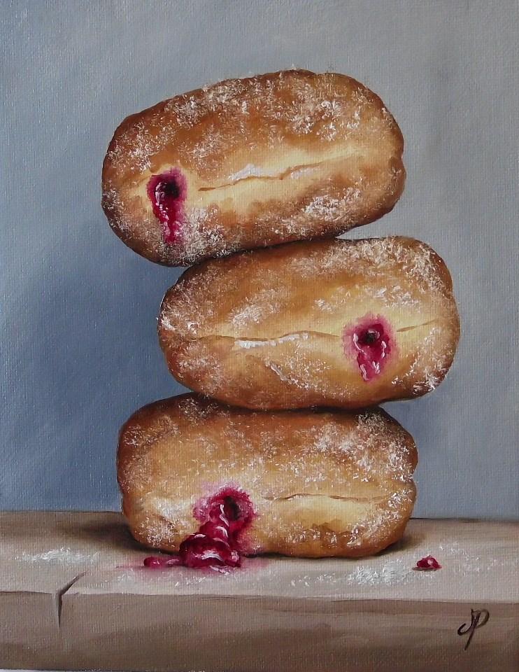 """""""Jam Doughnut Trio"""" original fine art by Jane Palmer"""