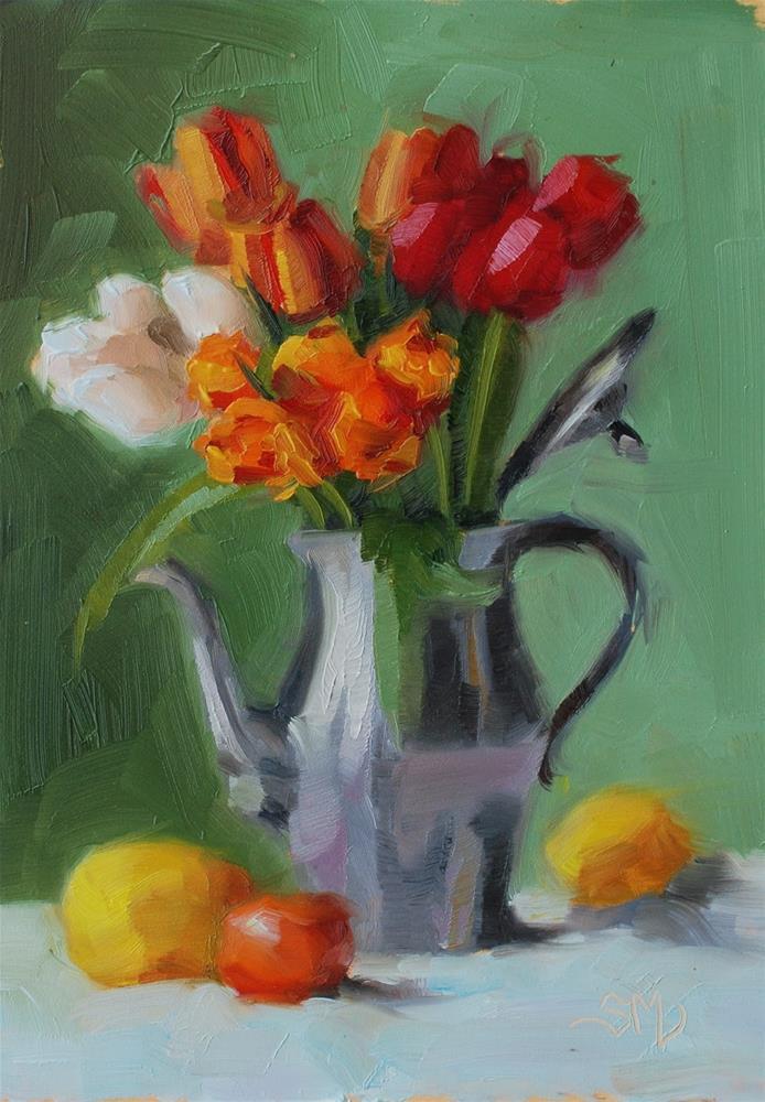 """""""No. 583 Potted Tulips"""" original fine art by Susan McManamen"""