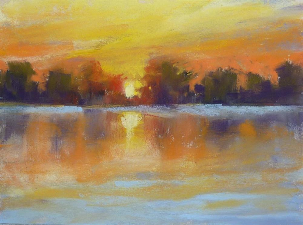 """Sunset on the Lake Summer Landscape"" original fine art by Karen Margulis"