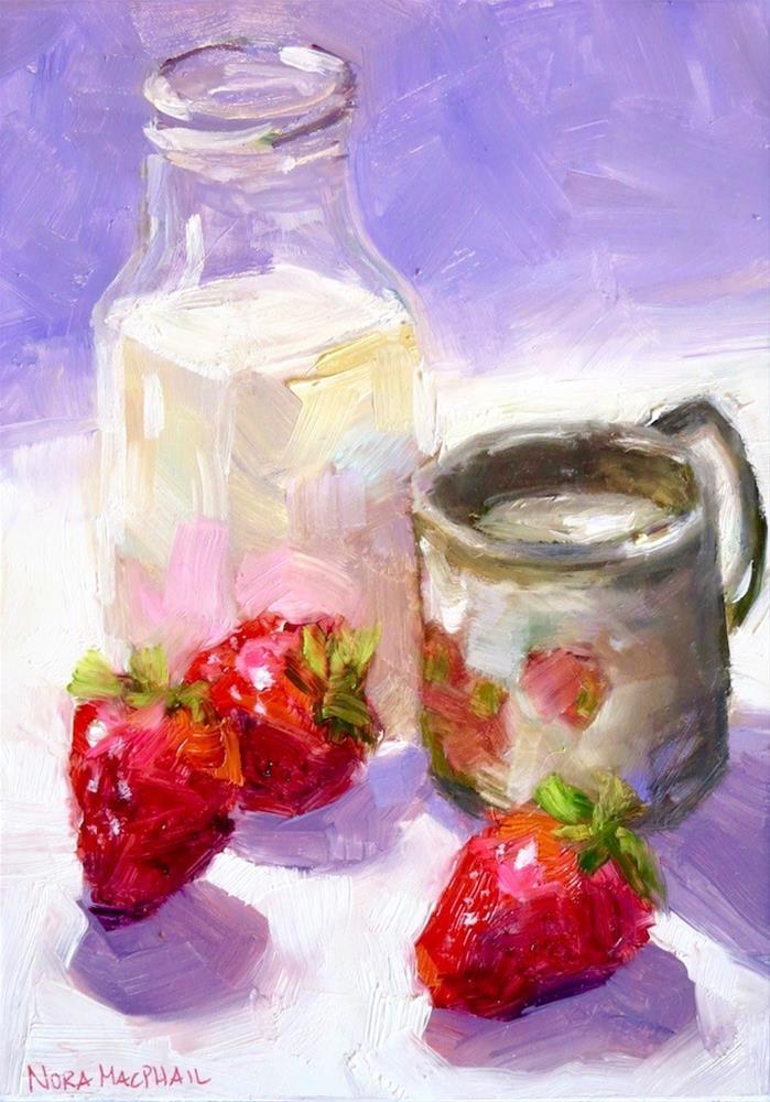 """""""milk n' berries"""" original fine art by Nora MacPhail"""