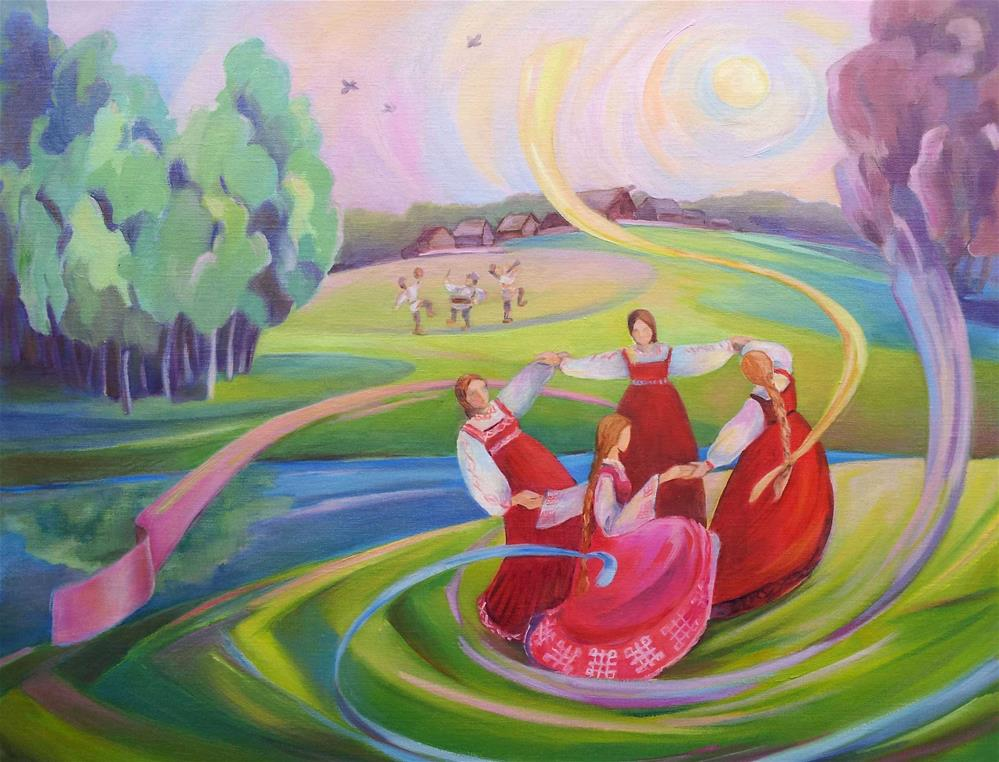 """From Slavic Pagan celebrations - Krasna Gorka"" original fine art by Olga Touboltseva-Lefort"