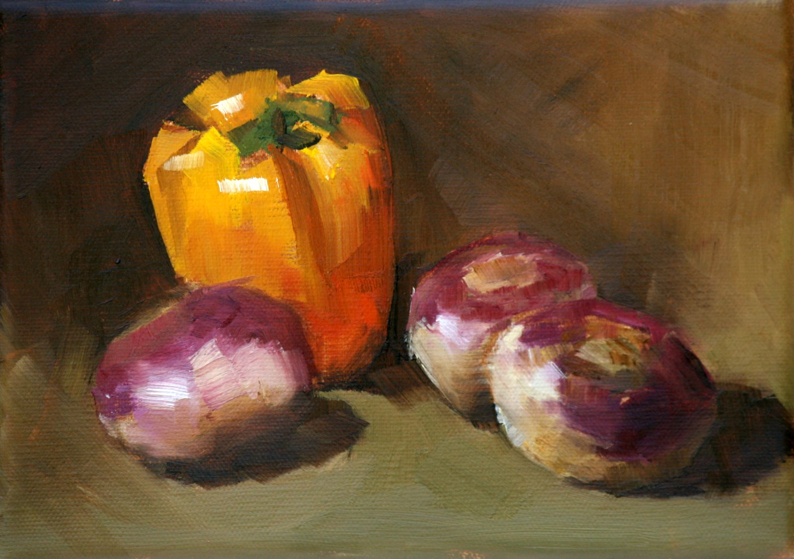 """turnips and yellow pepper"" original fine art by Carol Carmichael"